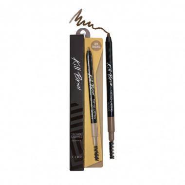 Стойкий гелевый карандаш с щеточкой CLIO с эффектом татуажа