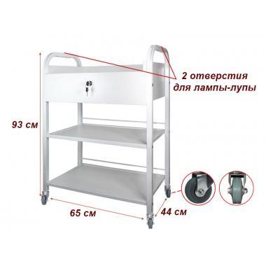 Тележка косметологическая мод. 010 на 3 полки(ДСП), с ящиком