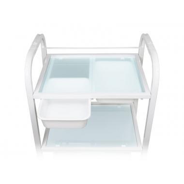 Тележка косметологическая / манипуляционная модель 042 на 3 полки (стекло) с двумя пластиковыми лотками