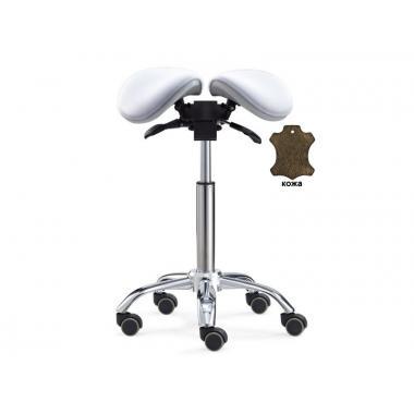 Стул-седло для мастера мод. 6025 (кожа) разделенным сидением