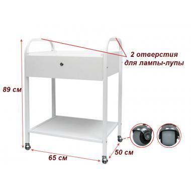 Тележка косметологическая мод. 011 на 2 полки(ДСП), с ящиком