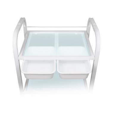 Тележка косметологическая / манипуляционная на 3 полки мод. 042 с двумя пластиковыми лотками