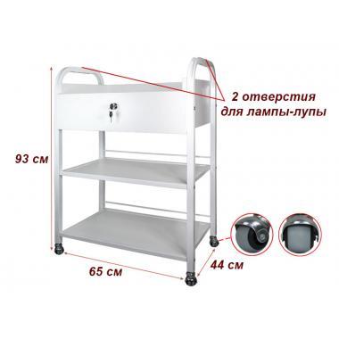 Тележка косметологическая мод. 010 на 3 полки (ДСП), с ящиком