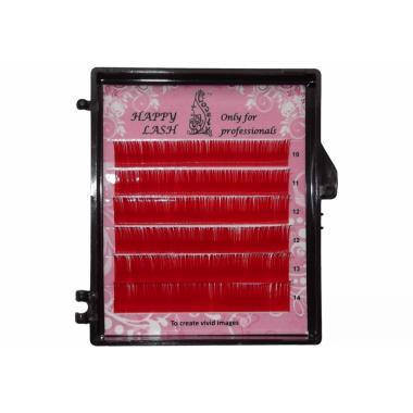 Ресницы красные (red) Lovely MINI - 6 линий - MIX